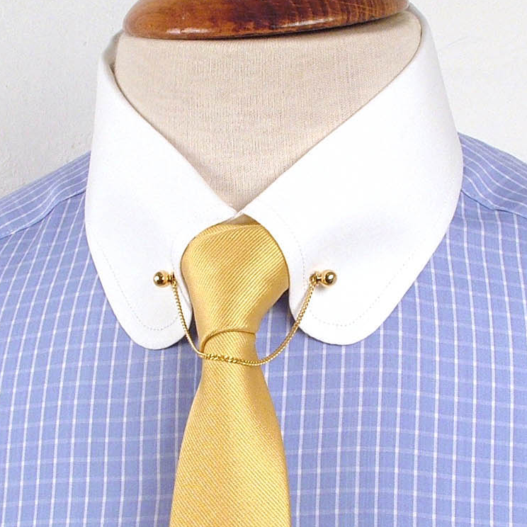 Collar pins for men screw ends for shirts with holes in for Mens dress shirts with cufflink holes
